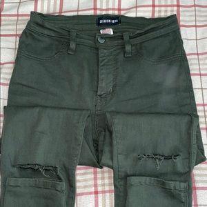 Fashion Nova Olive Green Canopy Jeans